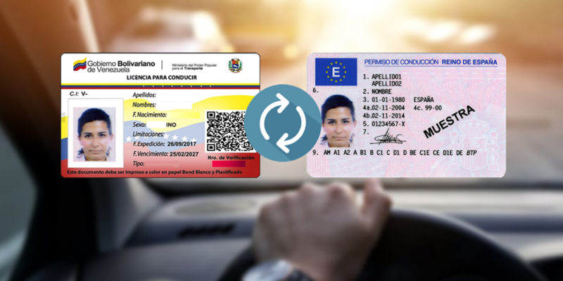 Canje de permisos de conducción.